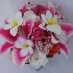 Real Touch Hot Pink Stargazer lilies and real touch plumerias
