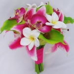 Silk Real Touch and Tropical Bouquet Lime green Lilies, Orchids and plumerias
