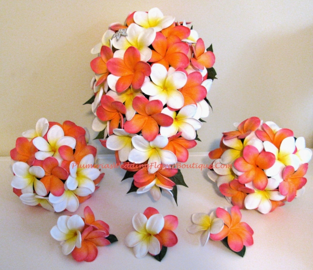 real touch orange plumeria bridal package plumeria bouquets