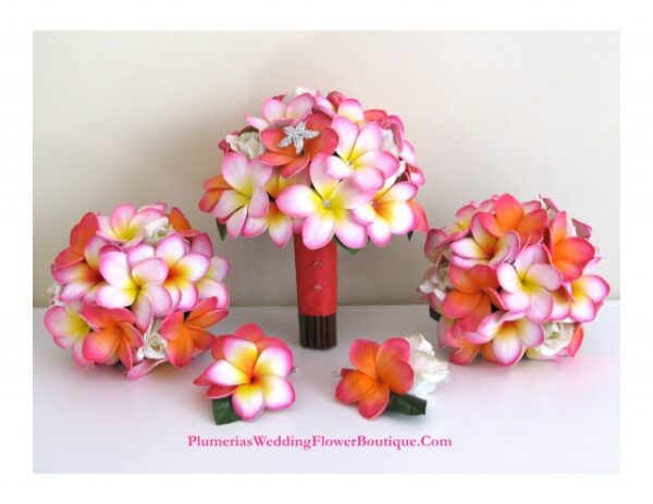 pink real touch plumeria flowers